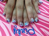 Bright purple tips with 3D flowers