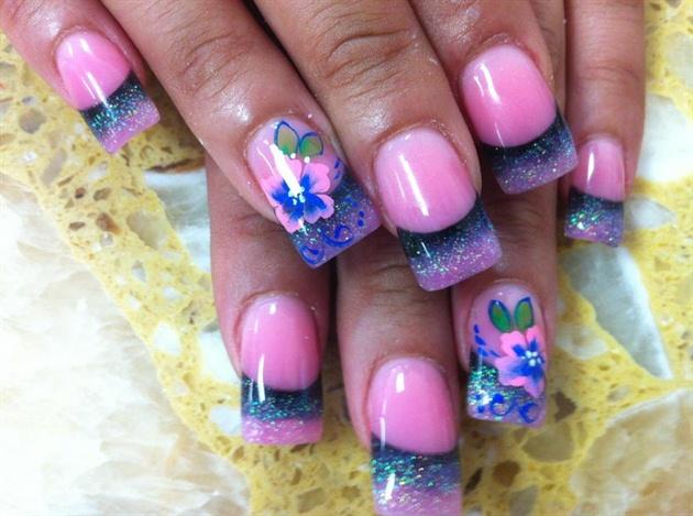Pink & Dark blue tips w/ flowers
