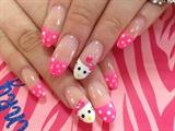 Cute hello kitty nails w/ pink dot tips