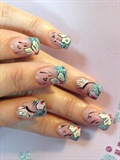 Bling green tips with white flowers