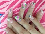 Rainbow line tips w/ pink flower