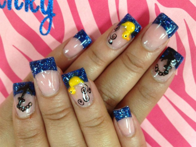 Blue tips w/ yellow duck design - Blue Tips W/ Yellow Duck Design - Nail Art Gallery
