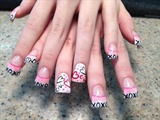 Rainbow dot on white nails w/ XOXO