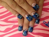 Dark blue tips w/ black flowers