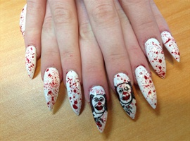 Red & white halloween nails