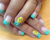mint w/ neon yellow flowers