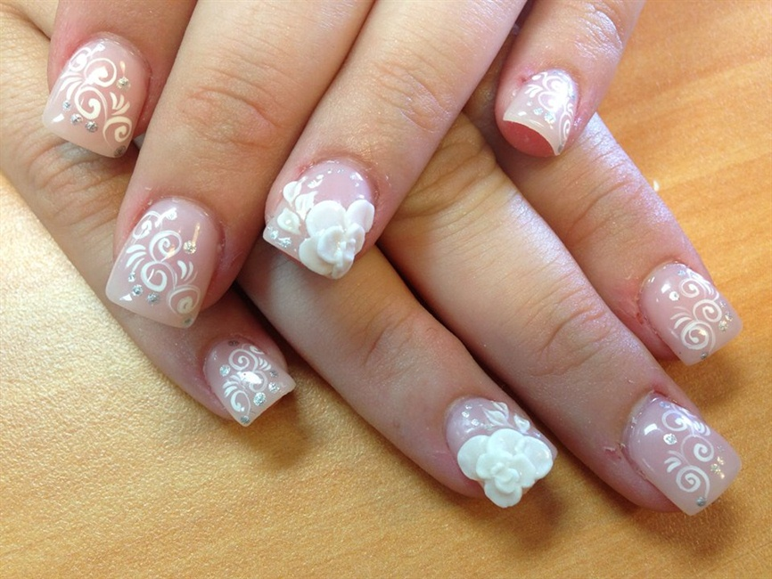 White flowers lines w 3d flowers nail art gallery mightylinksfo