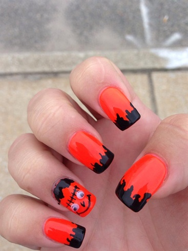 Orange and black Halloween nail polish