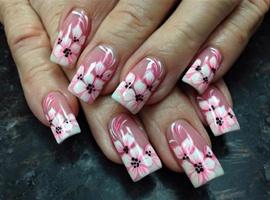 nail art: Pink Flowers