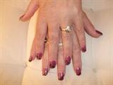 purple&black stripe nail art