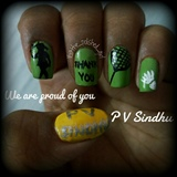 Nail art dedicated to p v sindhu