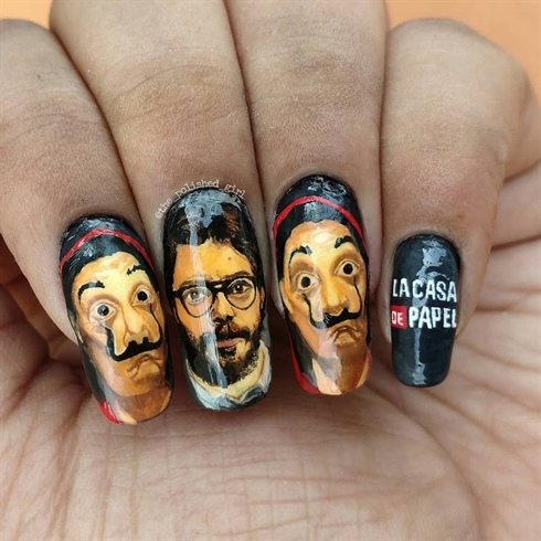 Money heist El professor Handpainted La Casa De Papel Nail Art by Piyusha