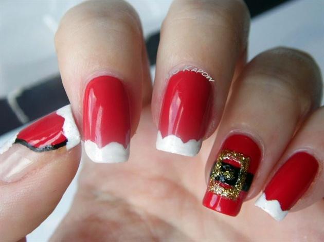 Santa Suit nails