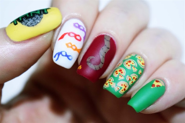 Teenage Mutant Ninja Turtles Pizza Nails