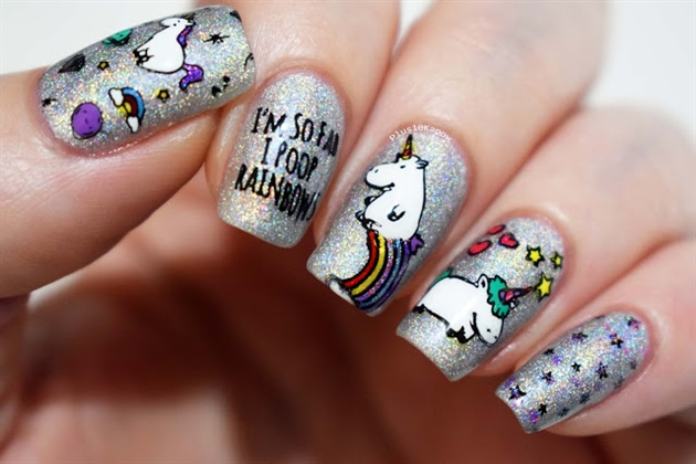I Poop Rainbows Unicorn nails