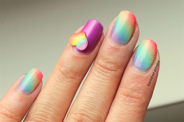 Rainbow gradient with heart decoration