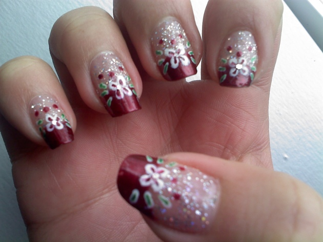 Red French Manicure Flower Amp Glitter