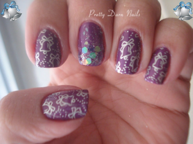 Jingle bells stamping and purple nail polish