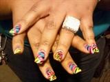 Multi-Colored Zebra and Leopard Nails