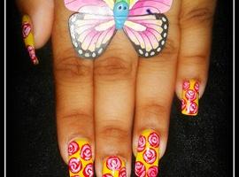 cute rosy nail art