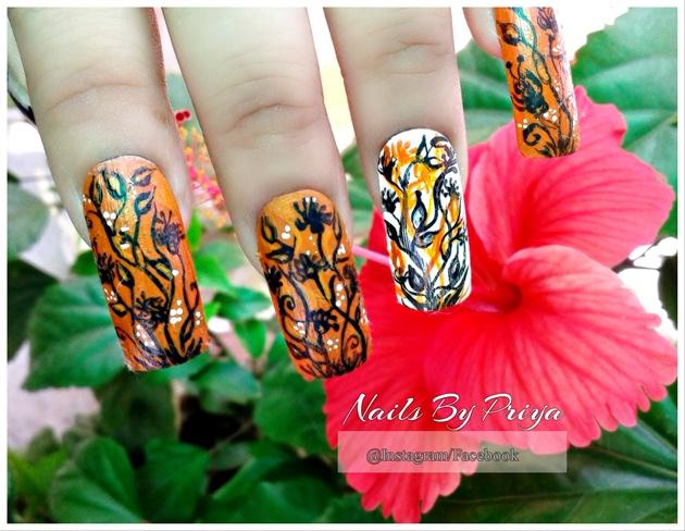Fall floral nails