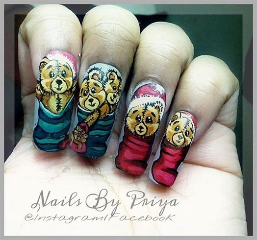 Hand Painted Christmas Nail Art: Nail Art Gallery