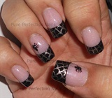 Spider Web French Stamping Nail Art