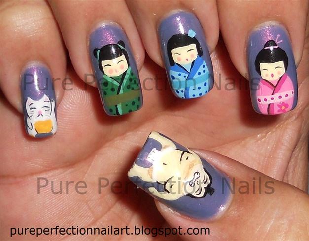 Japanese Geisha, Lucky Cat & Sumo Nail - Nail Art Gallery