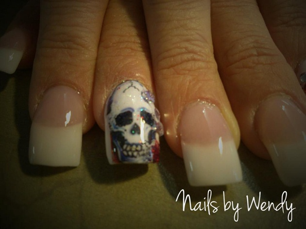 Pink& White Sculptured Skull Tat