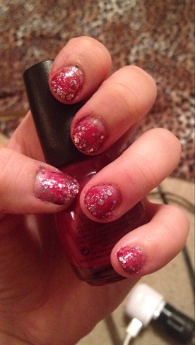 Ombre Red & Glitter