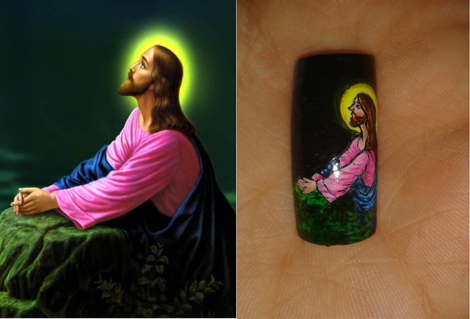JESUS EN EL HUERTO!! - Nail Art Gallery Step-by-Step Tutorial Photos