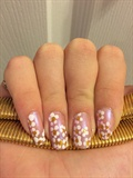 Gold, Pink And White Flower Nails