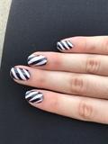 Purple & White Stripped Nails