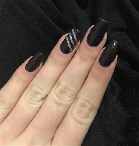 Very Dark Purple With Silver Stripes