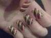 Rasta Glitter nails