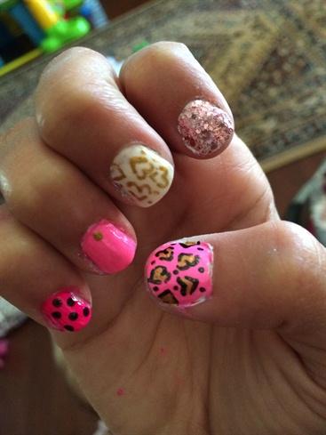 Pink Leopard Print Hearts Gold Glitter!
