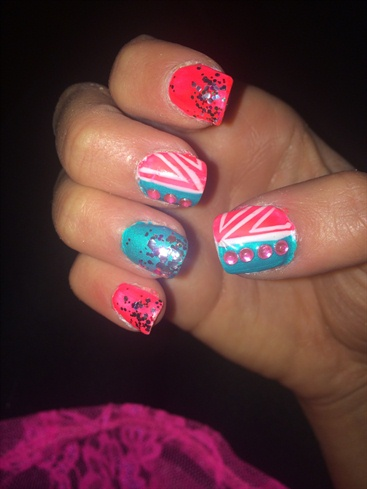 Hot Pink And Teal! Abstract!
