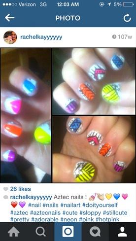 Sort Of Aztec Nails! Tutorial!