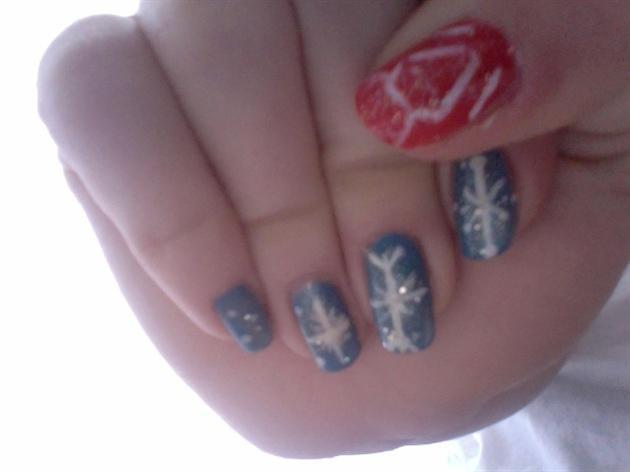 Snowflakes + Deer Winter Nails