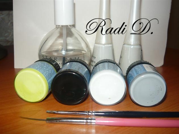 You will need: base coat, top coat, white polish, white, black, yellow and grey acrylic paints, regular and detailed brush.