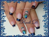Blue french & feather