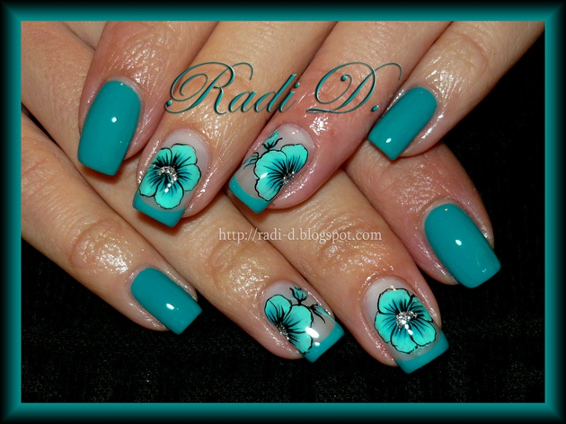 Turquoise Flower Nail Art Gallery