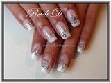 Sponged white tips & glitter