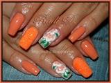 Orange neon glitter and Flowers