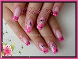 Neon Pink Tips and Flowers