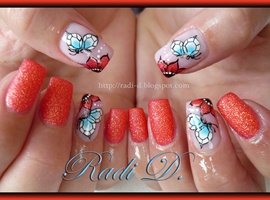 nail art: Orange sand and One Stroke Butterflies