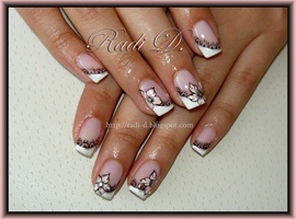 nail art: Diagonal french, lace & flowers