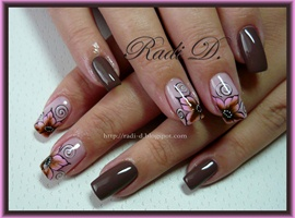 nail art: Brown & Pink Flowers