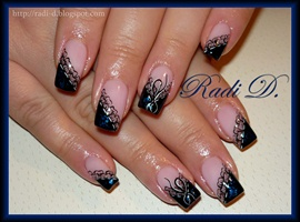 nail art: Black Diagonal French & Lace