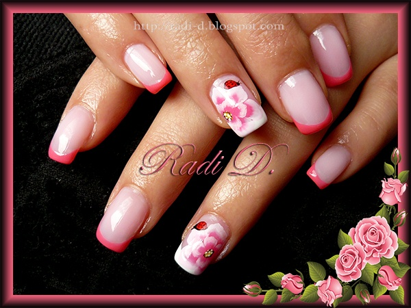 Pink French with Flowers